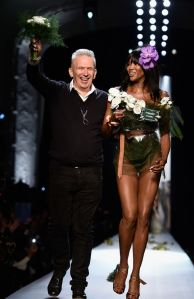 Jean Paul Gaultier and Naomi Campbell walk the runway at the end of the show. January 28,2015.Paris Fashion Week Haute Couture