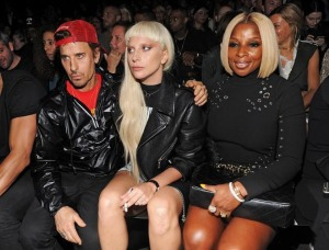 Lady Gaga, Steven Klein and Mary J Blige at Alexander Wang's Fashion Show
